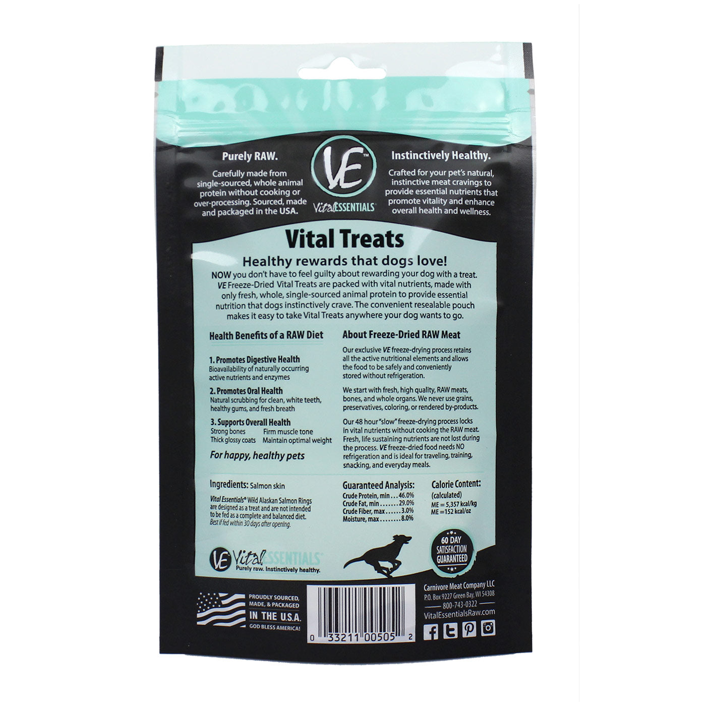 Freeze Dried Salmon Dog Treats - back of bag