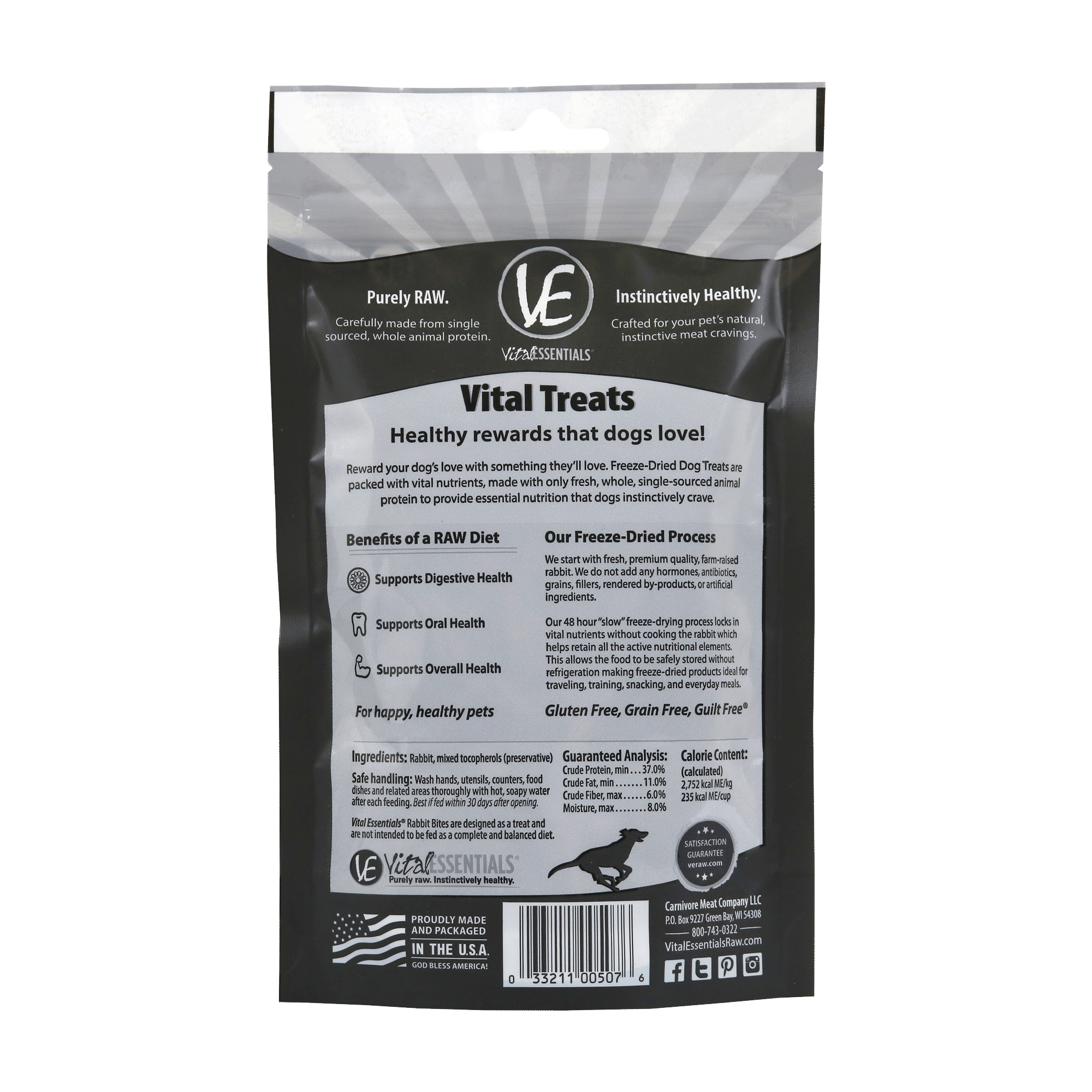 Freeze-Dried Rabbit Treats for Dogs - Back of Bag