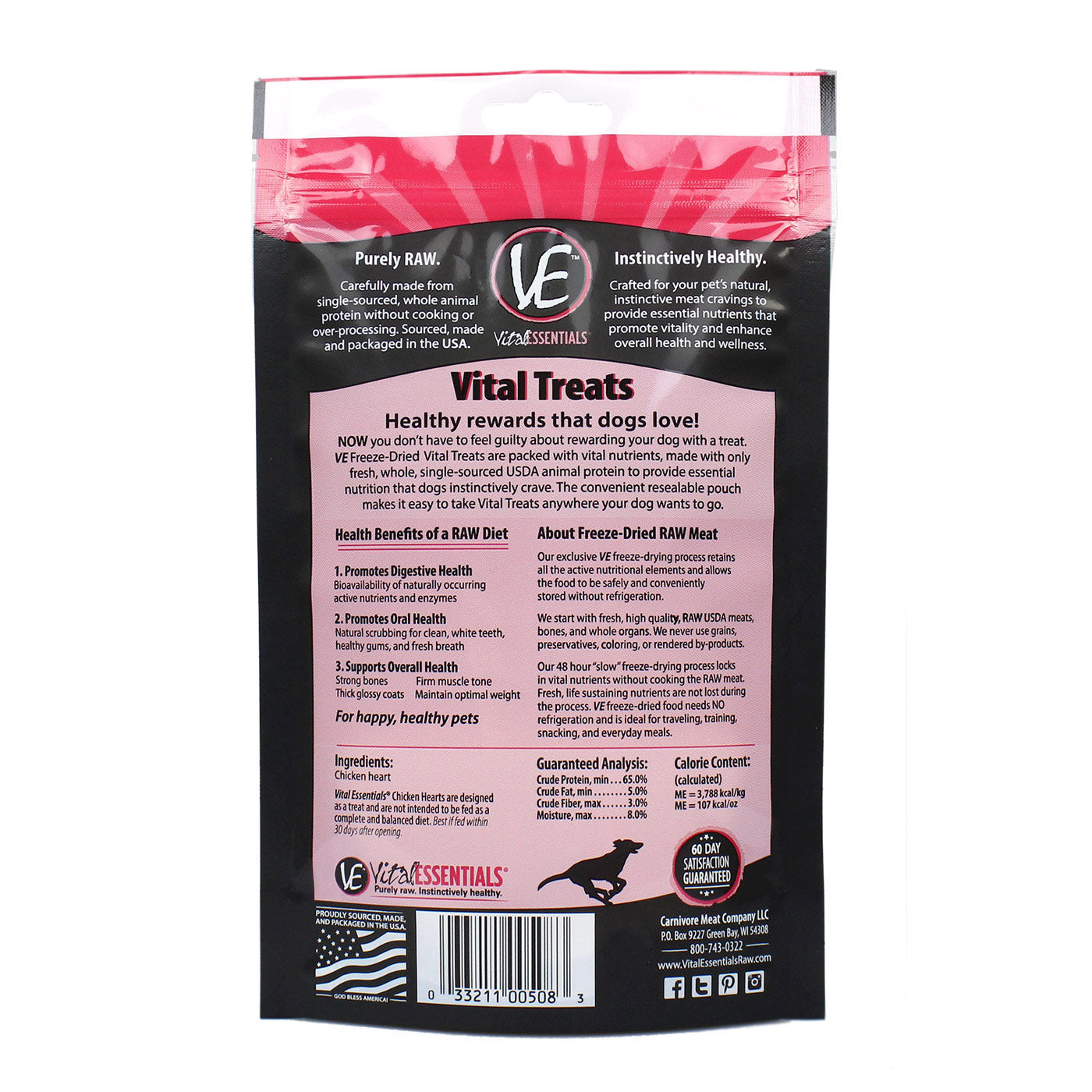 Freeze Dried Chicken Hearts for Dogs Treats - Back of Bag