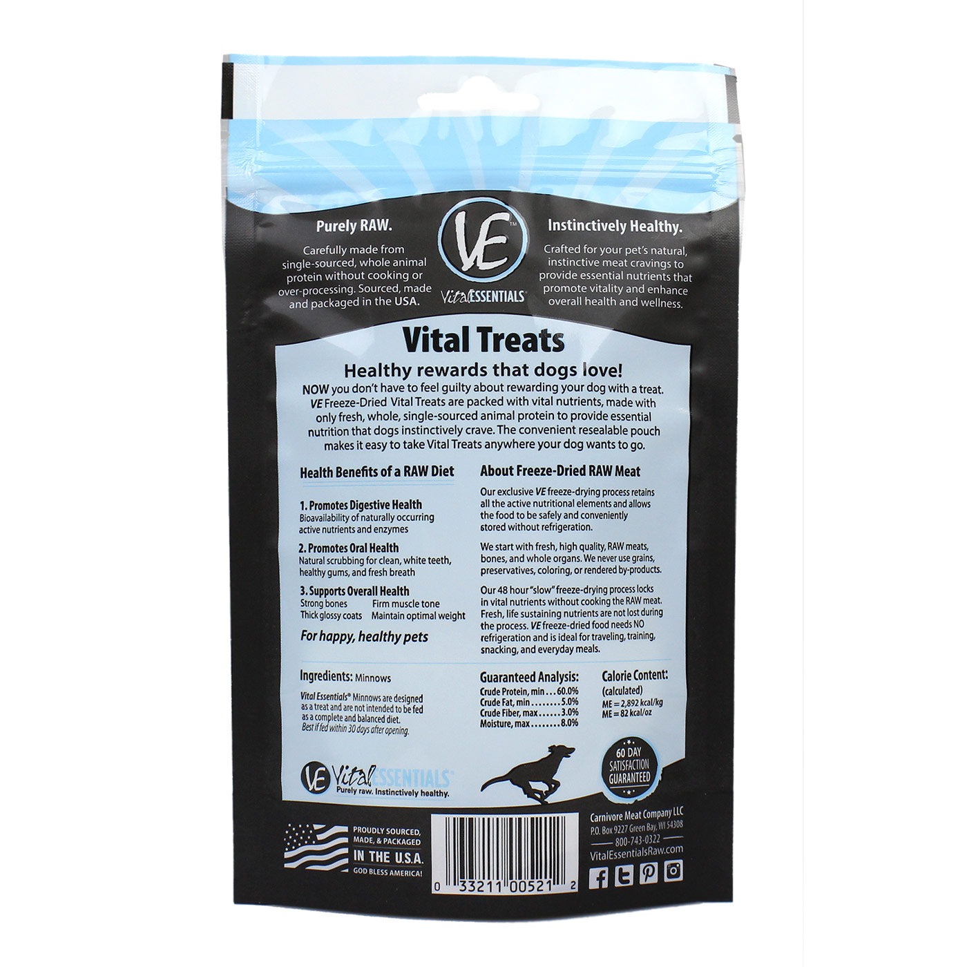Freeze Dried Minnows Dog Treats - Back of Bag