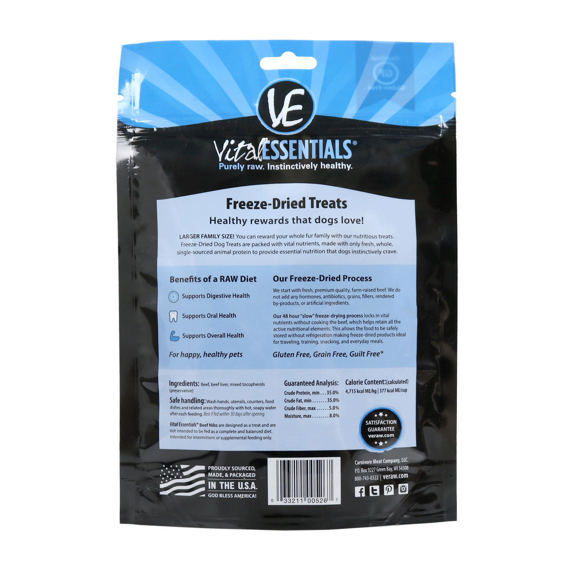 Freeze Dried Beef Dog Treats - back of bag