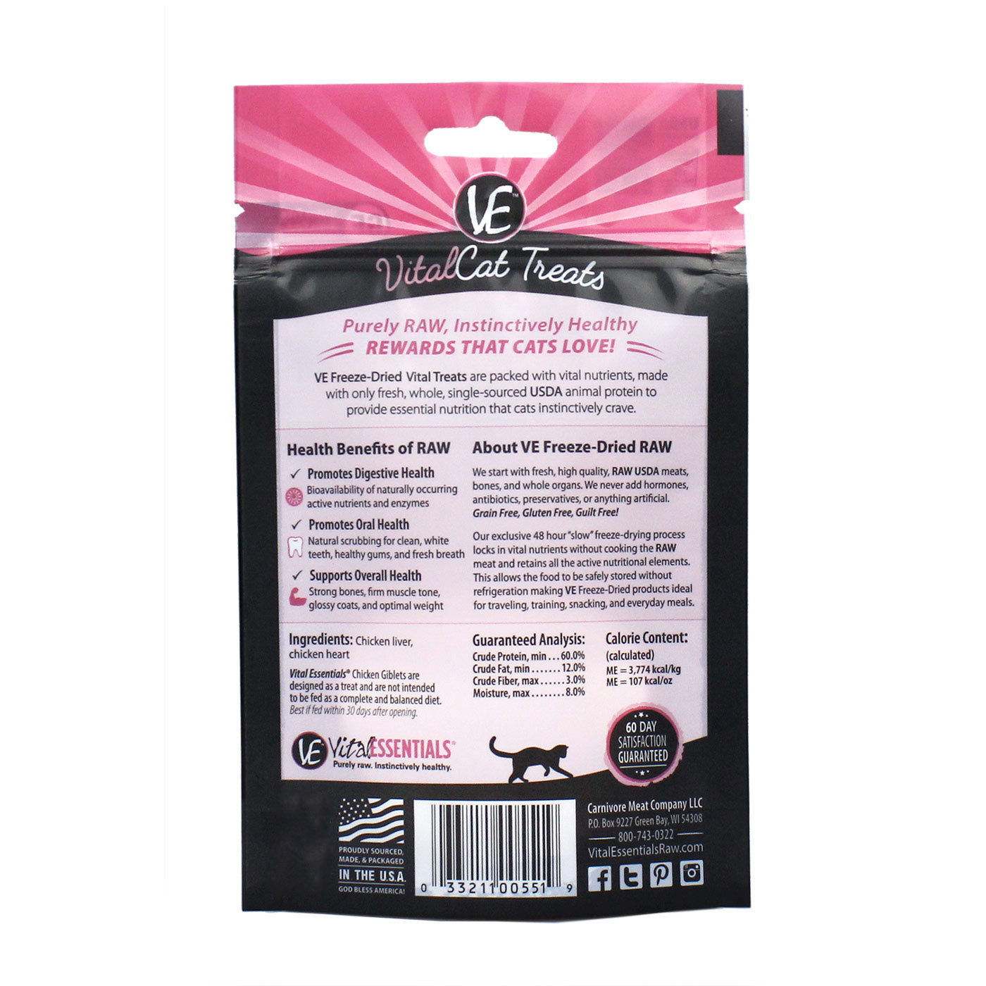 Freeze-Dried Chicken Giblets Cat Treats - back of bag
