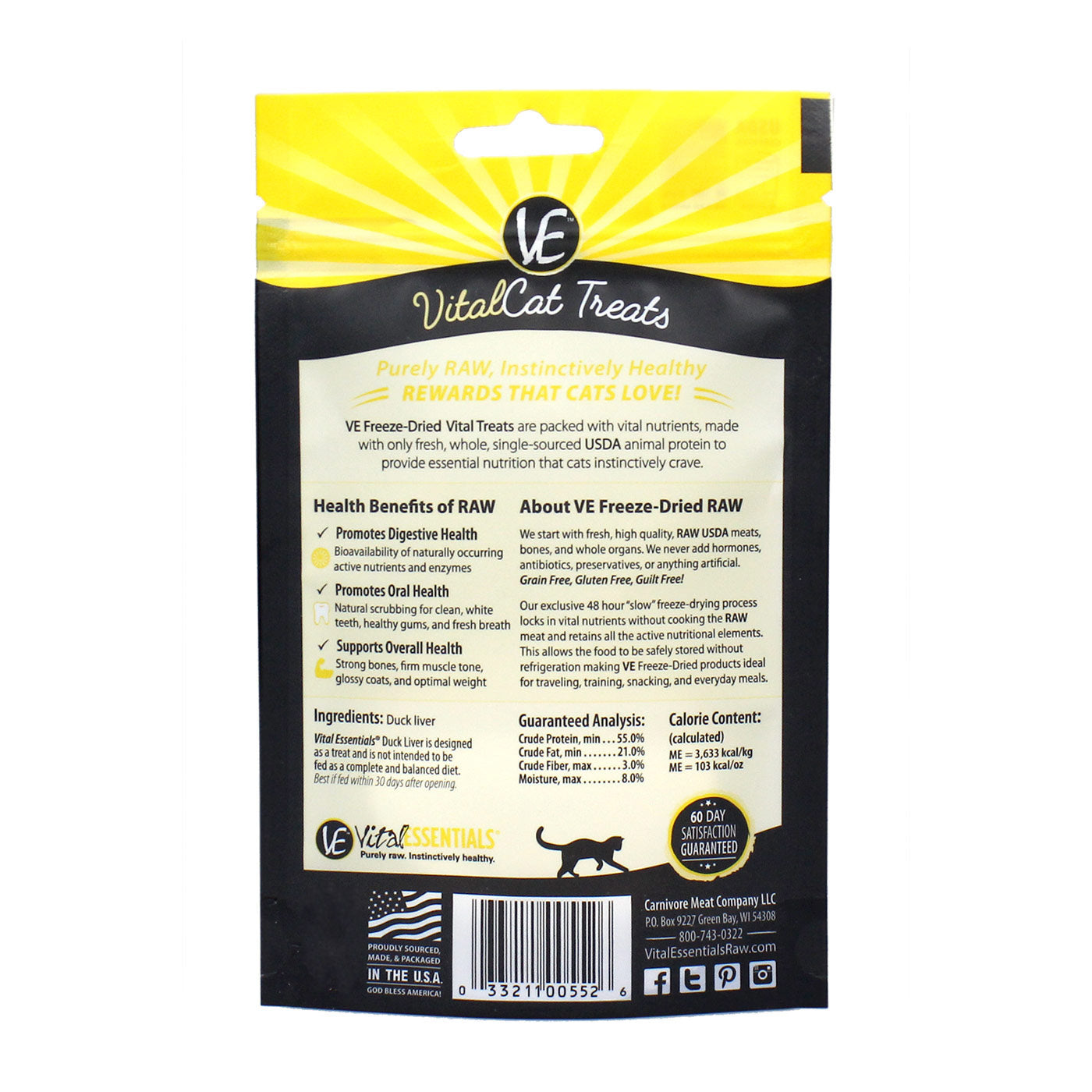 Freeze-Dried Duck Liver Cat Treats - back of bag