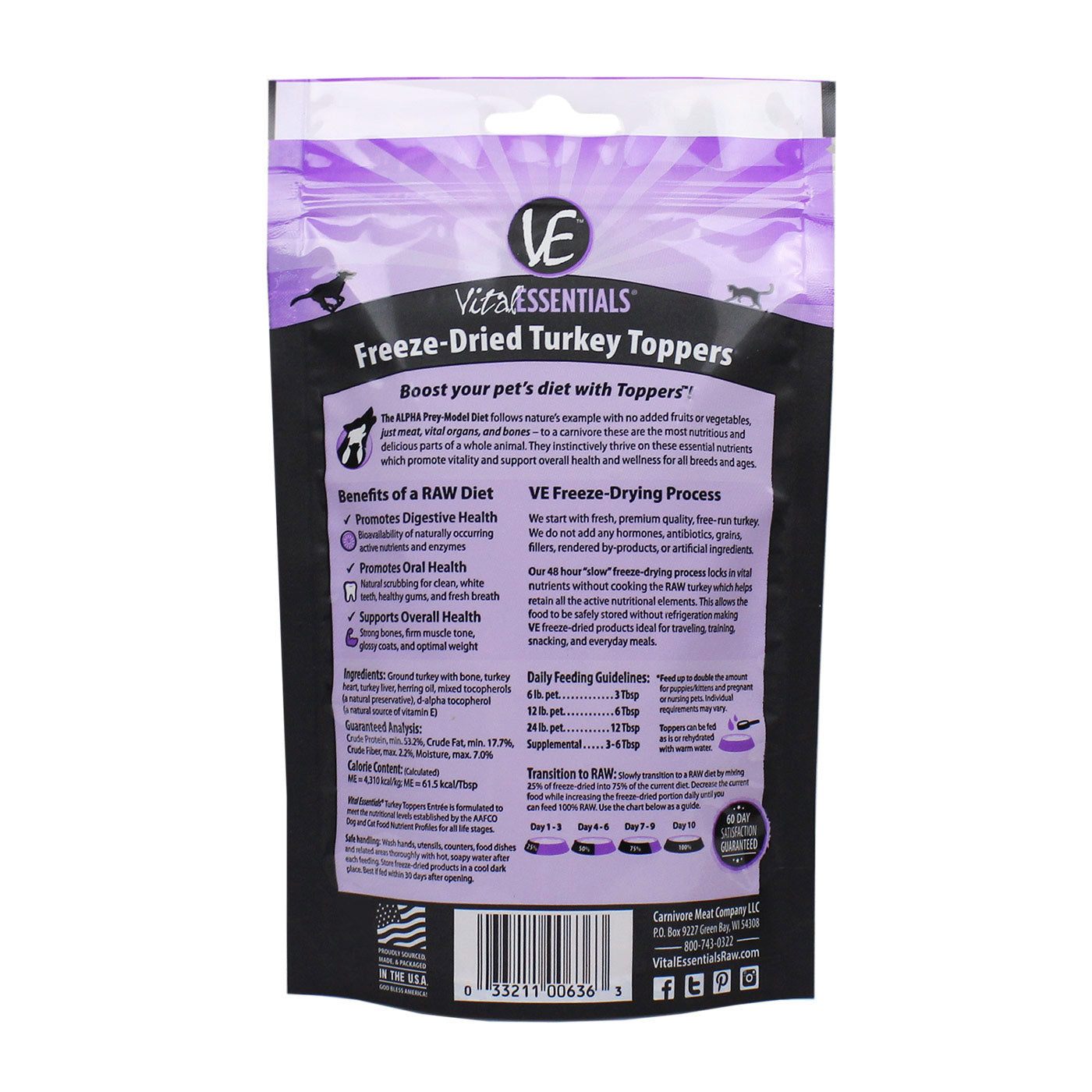 Freeze Dried Turkey Dog Meal Toppers - back of bag