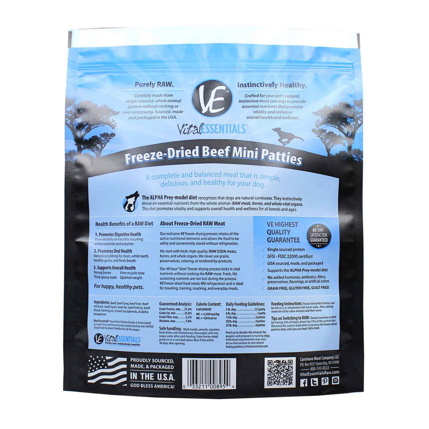 Freeze-Dried Mini Patties Beef Dog Food - back of bag