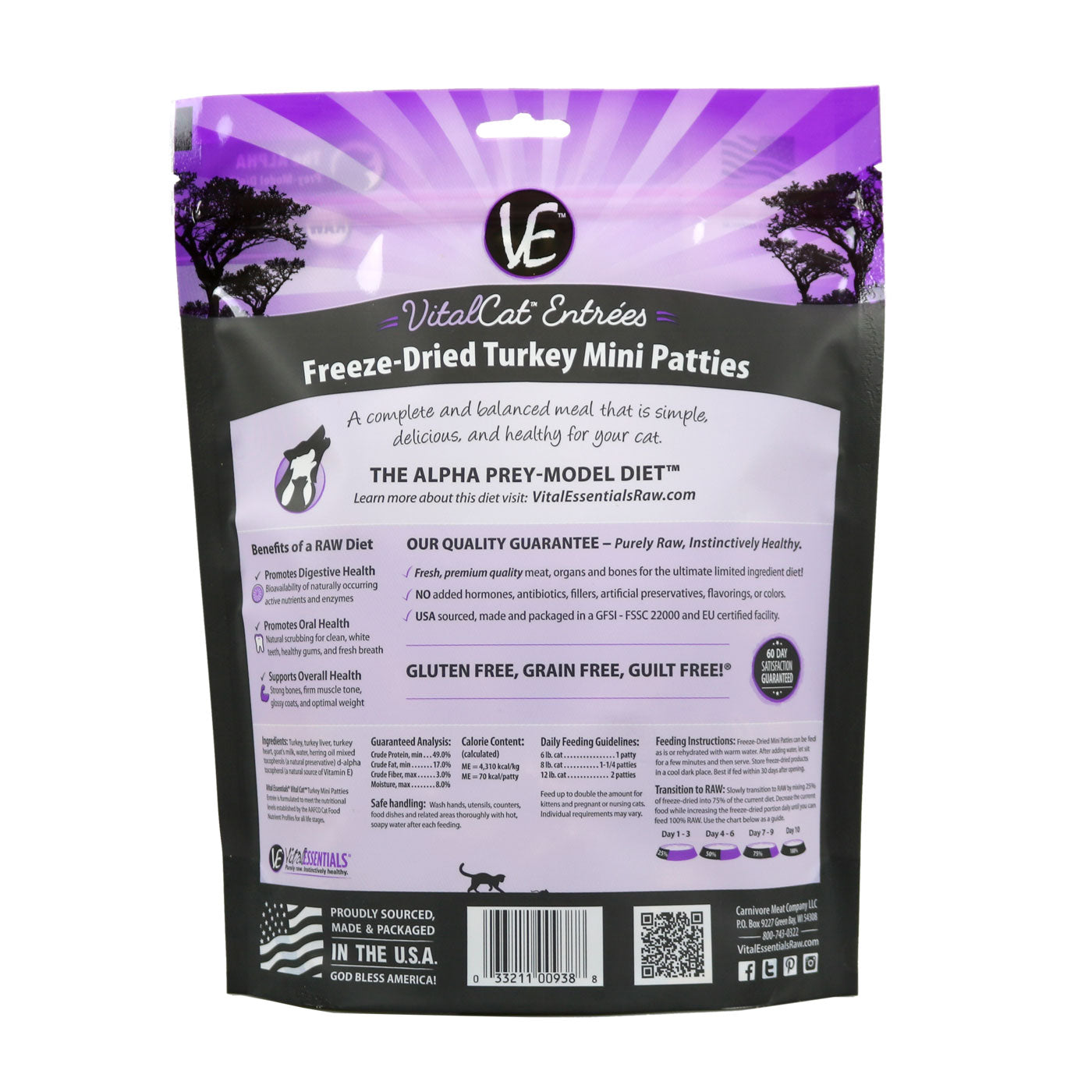 Vital Cat Freeze Dried Mini Patties Turkey Cat Food - back of bag