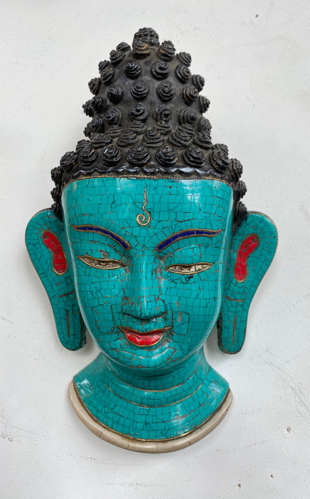 One of a kind Turquoise Mask/Wall Plaque Buddha
