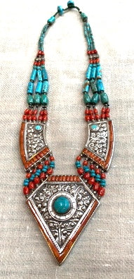 Turquoise & Red Coral Necklace