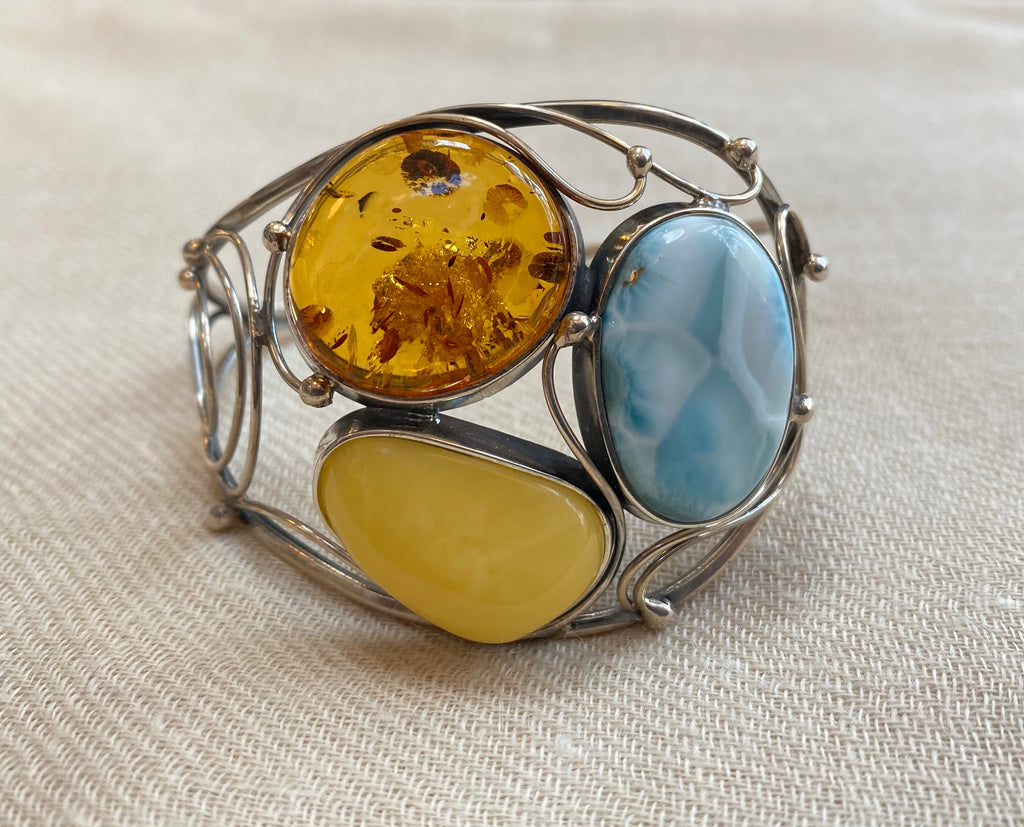 Larimar and Baltic Amber Sterling Bracelet