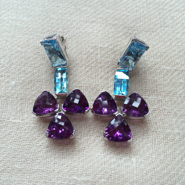 Purple Amethyst and Blue Topaz Silver Earrings