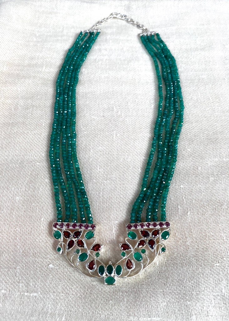 Emerald and Garnet Necklace in Sterling