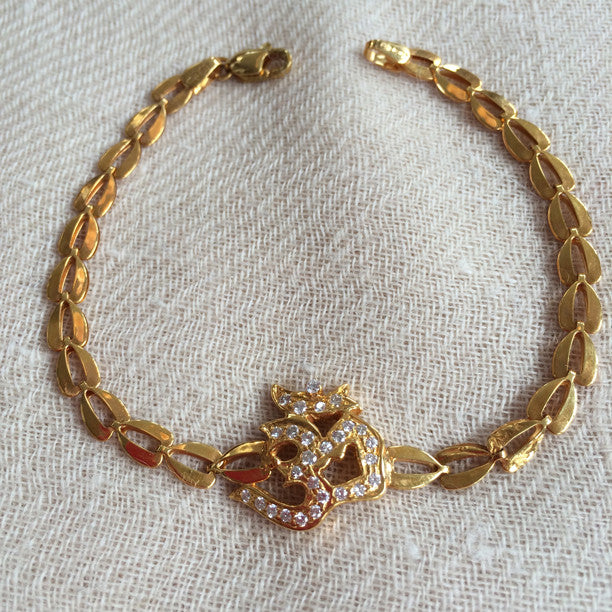 Diamond Om 14k Gold Bracelet