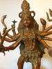 Large Brass Kali standing on Shiva Statue
