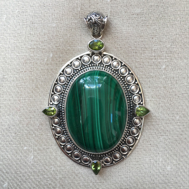 Malachite and Peridot Silver Pendant