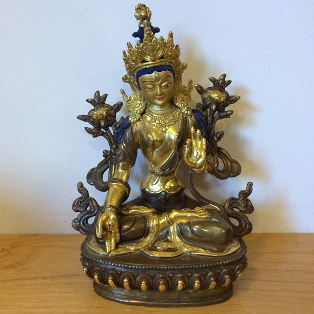 Brass Nepalese Gold Face White Tara Statue