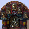 Painted Wooden Enclave with 5 Buddhas and Tara Statue
