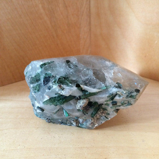 Clear Quartz with Green Tourmaline Crystal