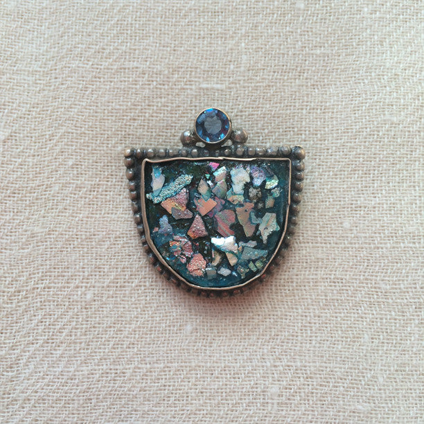 Roman Glass Silver Pin
