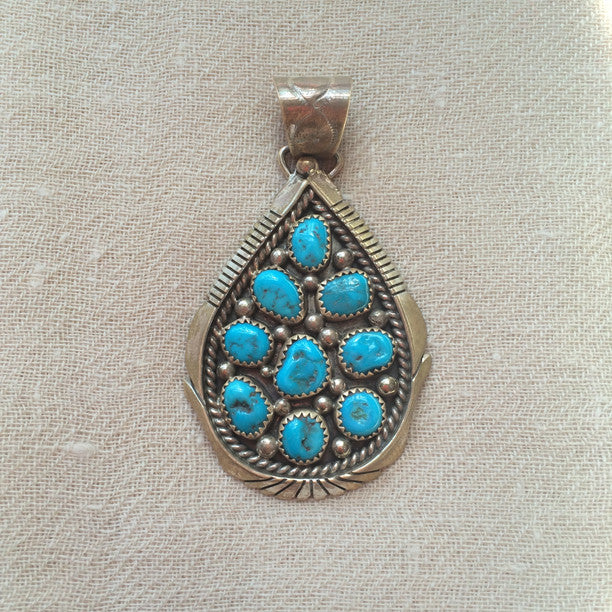 products kingman with turquoise w d round chaco pendant wchain sterling blue canyon chain silver