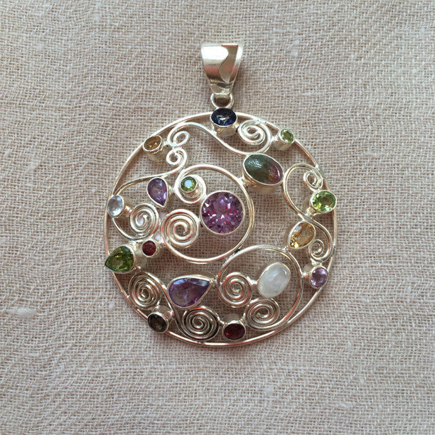 Round Spiral Multi Stone Silver Pendant with Amethyst, Peridot, Garnet, Citrine, Moonstone, Watermelon Tourmaline, and Smoky Quartz