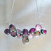 Pink and Green Tourmaline Silver Necklace