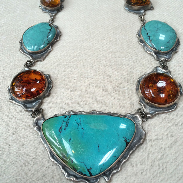Turquoise & Amber Silver Necklace