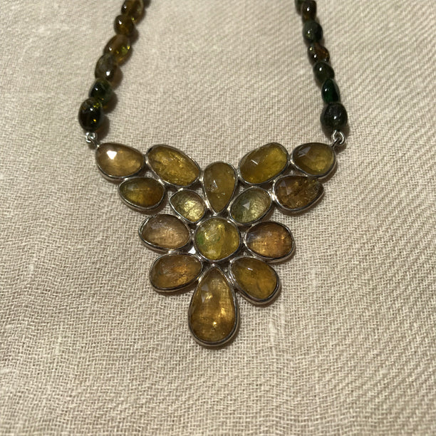 Yellow Tourmaline Necklace with Silver
