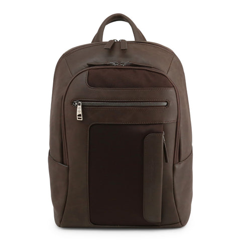 Piquadro Mens Brown Backpack with Padded Shoulder Straps - OUTCA3214FR