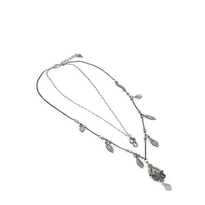 Guess Womens Steel Necklace with leaf shape falling Pendants - UFN10821