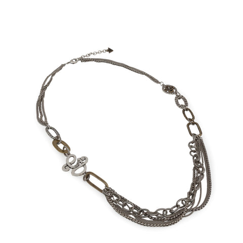 Guess Womens Steel Multi Chain Necklace - UFN50801