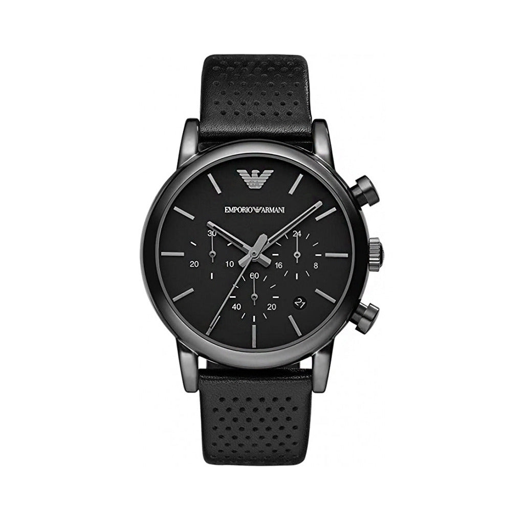 Emporio Armani Mens Black Stainless Steel Watch with Leather Strap - AR1737