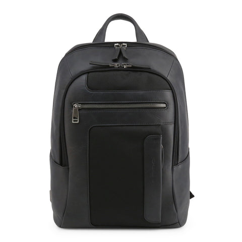 Piquadro Mens Black Backpack with Padded Shoulder Straps- OUTCA3214FR