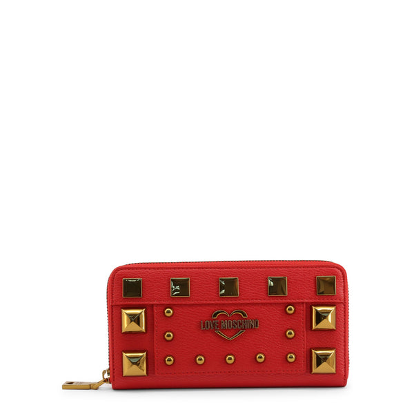 Love Moschino Womens Red Studded Wallet with Zip - JC5650PP0BKO