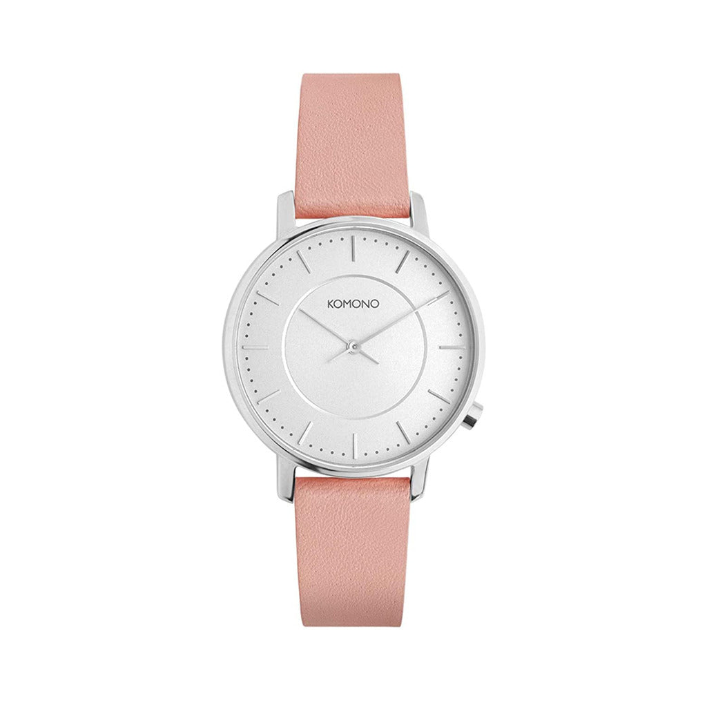 Komono Womens Pink Watch with Leather Strap - W4107