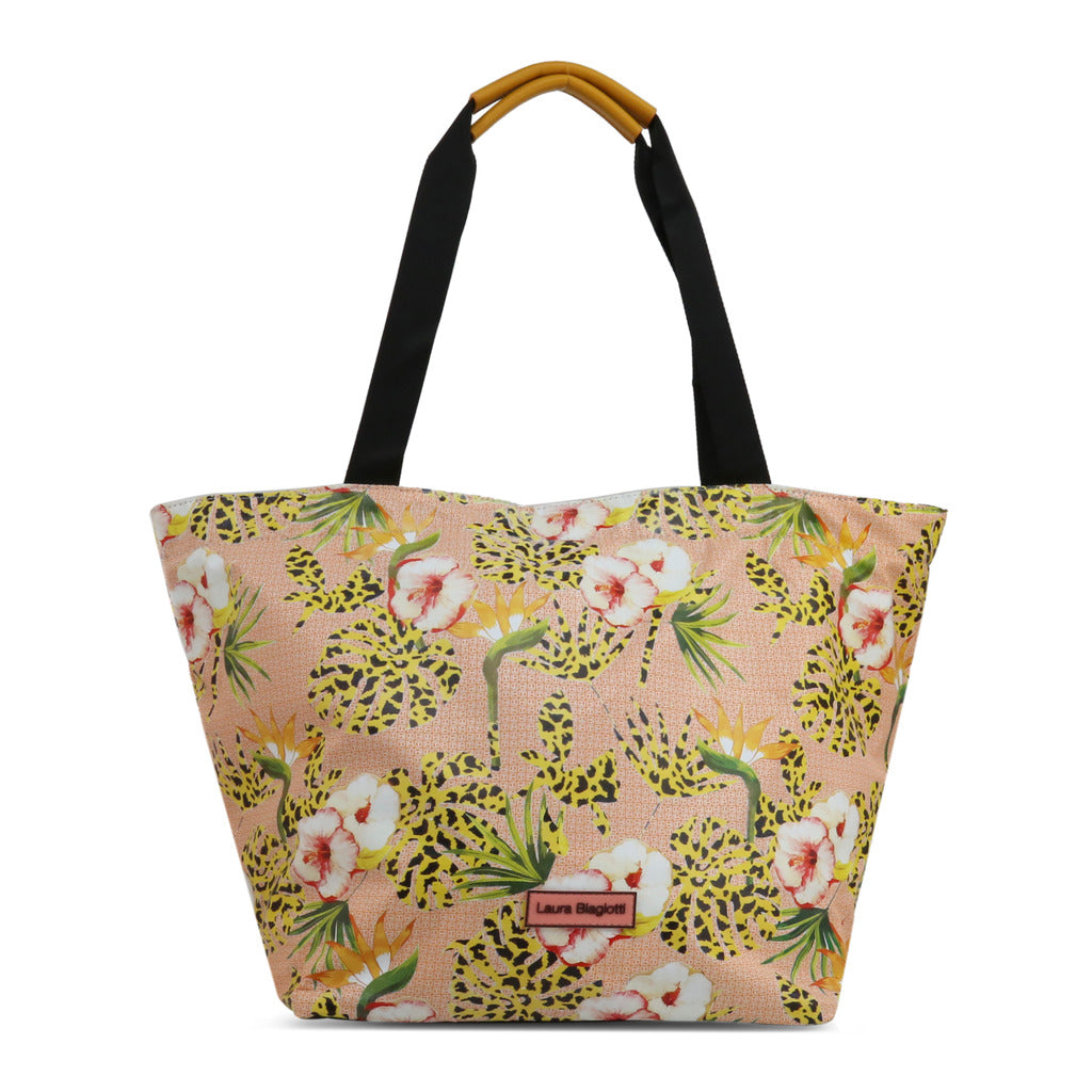 Laura Biagiotti Womens Yellow  Flower Patterned Shoulder Tote Bag - SALMA_LB20S-262-1