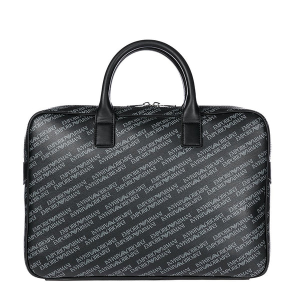 Emporio Armani Mens Black Briefcase with Logo Print - Y4P092-YLO7E