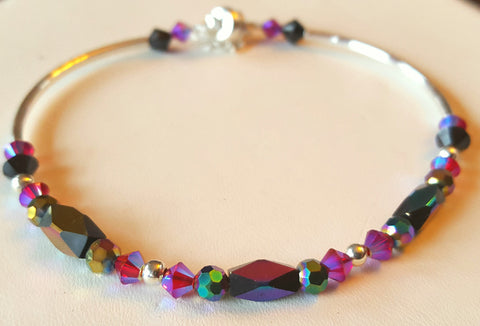 Crystal Magnetic Clasp Bracelet #001 Purple w/ Safety Chain