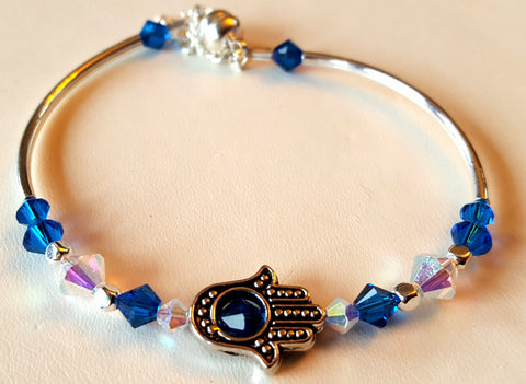 Crystal Magnetic Clasp Bracelet #004 Blue Hamsa w/ Safety Chain