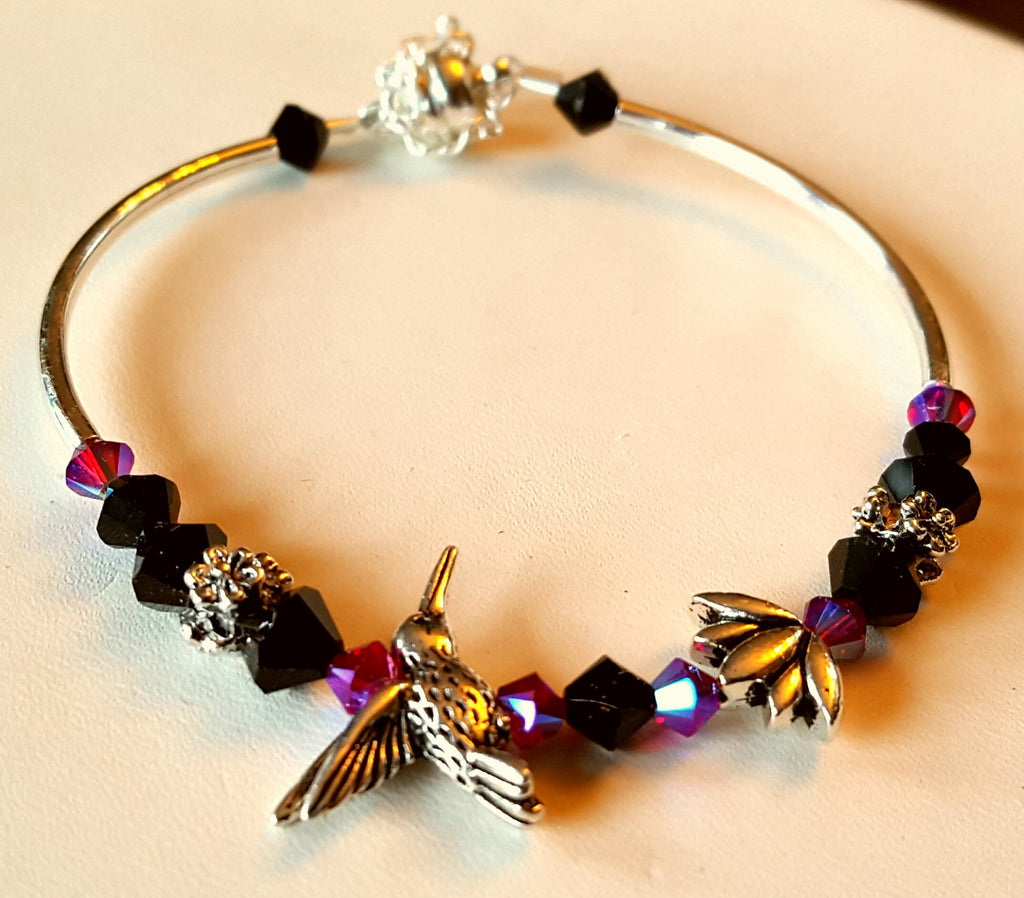 Crystal Magnetic Clasp Bracelet #005 Hummingbird & Lotus Flower Purple & Blk w/ Safety Chain