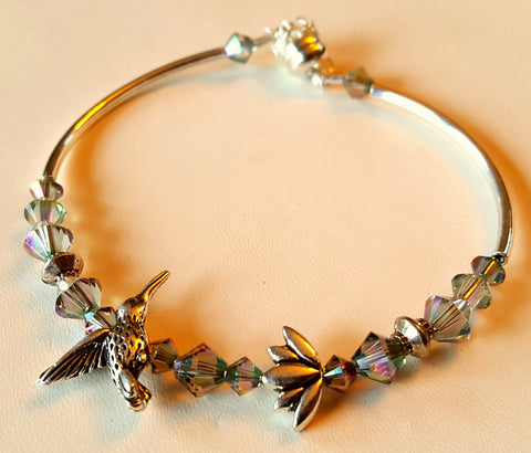 Crystal Magnetic Clasp Bracelet #008 Hummingbird & Lotus Flower Gunmetal w/ Safety Chain