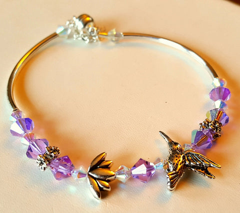 Crystal Magnetic Clasp Bracelet #009 Hummingbird & Lotus Flower Pink & Clear w/ Safety Chain