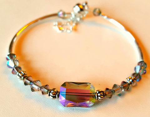 Crystal Magnetic Clasp Bracelet #010 Color Changer w/ Safety Chain