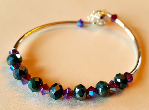 Crystal Magnetic Clasp Bracelet #011 Teal & Magenta w/ Safety Chain