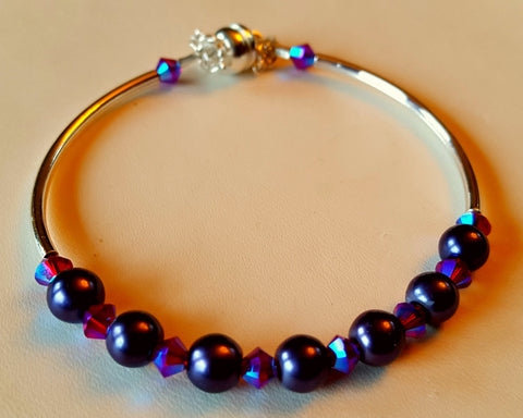 Crystal Magnetic Clasp Bracelet #012 Purple & Violet w/ Safety Chain