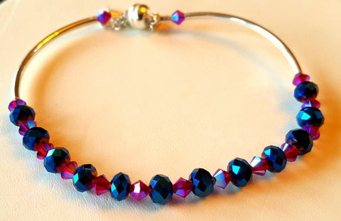Crystal Magnetic Clasp Bracelet #014 Blue/Purple/Magenta w/ Safety Chain