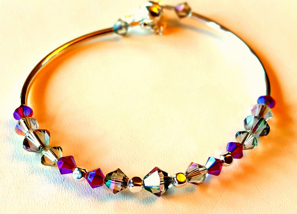 Crystal Magnetic Clasp Bracelet #015 Clear & Purple  w/ Safety Chain