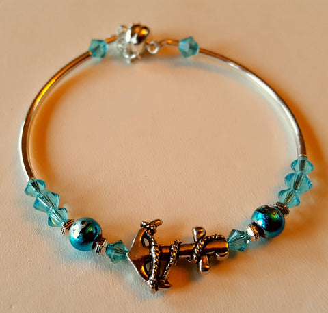 Crystal Magnetic Clasp Bracelet #017 Aqua Blue Anchor w/ Safety Chain