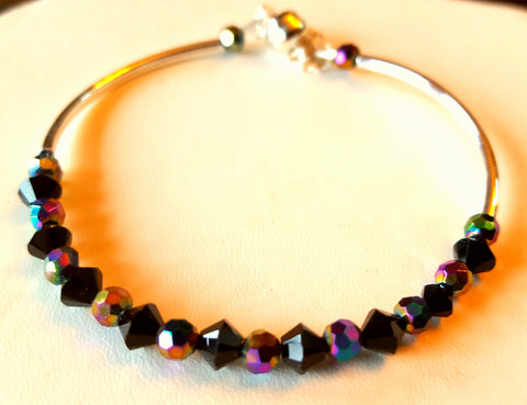 Crystal Magnetic Clasp Bracelet #019 Magenta & Black w/ Safety Chain