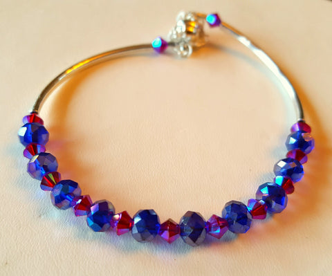 Crystal Magnetic Clasp Bracelet #021 Magenta & Royal Blue AB & Safety Chain