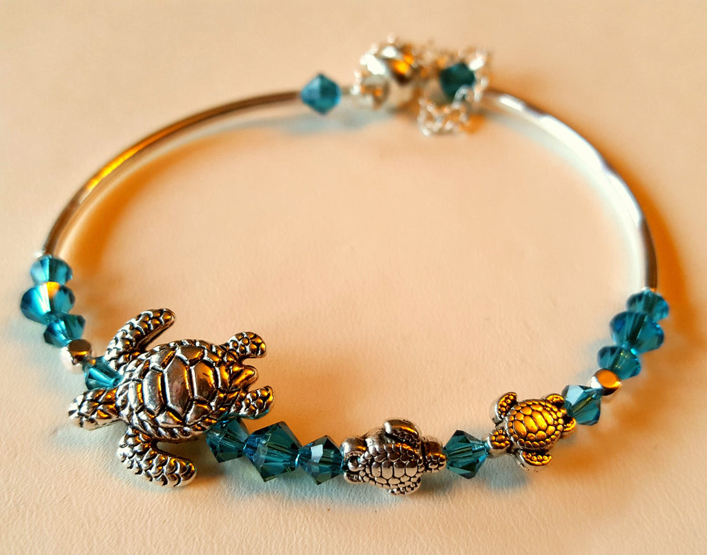 Crystal Magnetic Clasp Bracelet #022 Sea Turtle Bohemian Turquiose Blue & Safety Chain